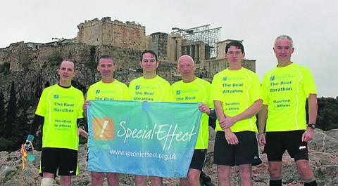From left, Andy Nutall, Nick Moglia, Simon Bennett, Rod Densham, Nic Yeoman and Nigel Davis, who hosted the runners in Greece and joined them on the 26-mile run, with the Acropolis in the background