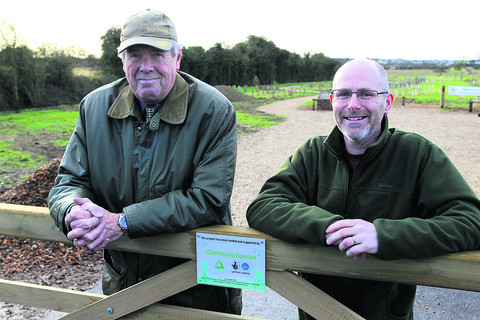 Trustee Roy Noble, left, at the wood with Nick Mottram