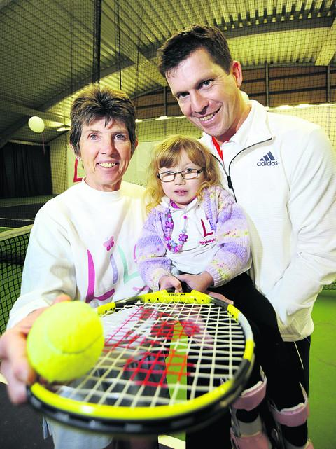 Tim Henman and  Liz Bamber with Lily Bamber, and during their games together