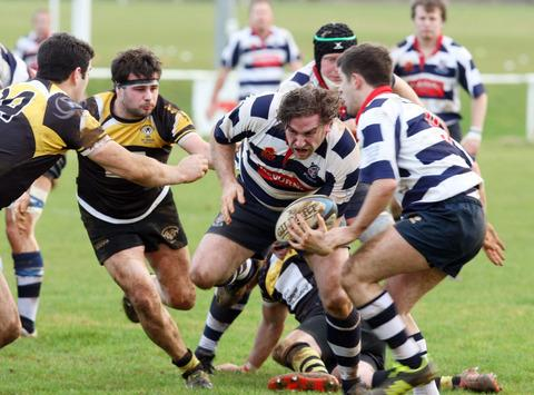 Banbury No 8 Simon Brand drives forward during their 15-13 victory over Shipston-on-Stour