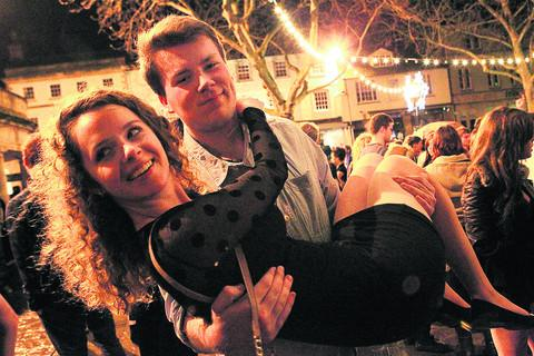 Alex Wilson and Katie Finlayson were among the crowd celebrating the start of 2013 in Witney's Market Square