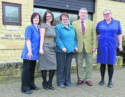 From left, practice manager Emira Shepherd, healthcare assistant Kay Tucker, Brenda Churchill, district councillor Mark Booty and practice nurse Louise Gray