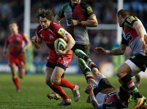Tom Arscott sprints through a gap during London Welsh's defeat at Harlequins