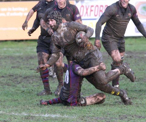 Oxford Harlequins flanker Ramen Farahani is stopped short of the Maidenhead try line during their 22-10 victory on Saturday