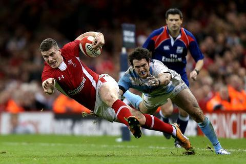 Argentina's Gonzalo Tiesi, London Welsh's new signing, tackles Wales' Scott Williams during their victory at the Millennium Stadium in November