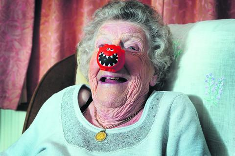 Peggy Barson, 92, who remembers the first Red Nose Day 25 years ago