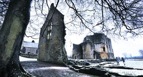 Minster Lovell Hall's ruins in the snow