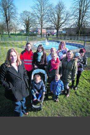 Claire Crowther, left, with supporters of a Facebook campaign and petition she has launched for a new splash park to replace a paddling pool that has been ruled no longer fit for purpose