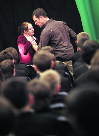VIOLENT: Nicky Turner as Chelsea and Richard Nutter as Gary in Chelsea's Choice at Didcot's St Birinus School