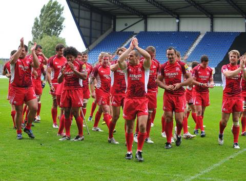 Gordon Ross leads the celebrations after London Welsh beat Exeter Chiefs 25-24 at the Kassam Stadium in September