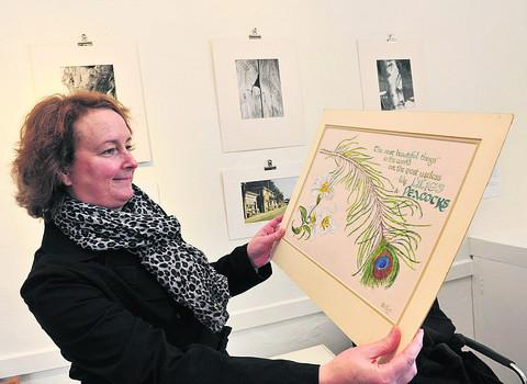 Miranda Leate admires one of the works by her late aunt Hilda Kent