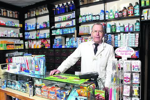 Cedric Reavley at his pharmacy in Burford. Picture: OX57729 Ric Mellis