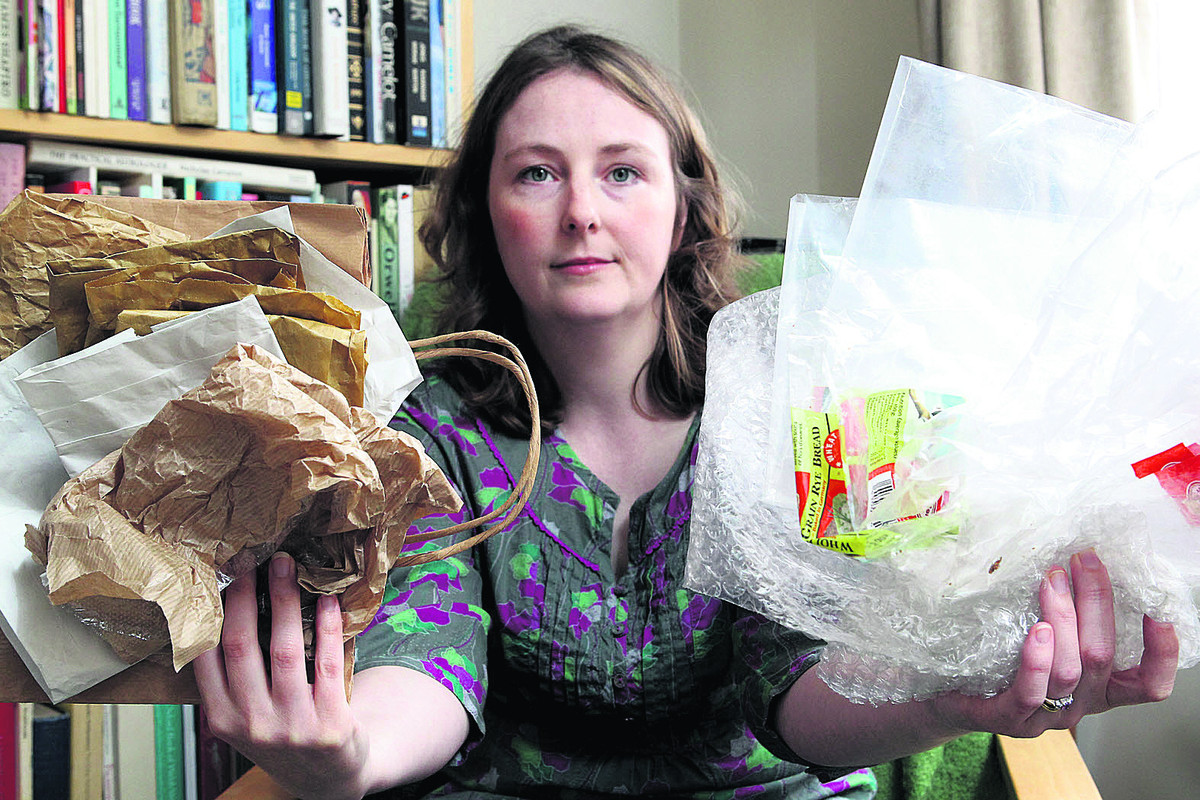 Kate Griffin, with recyclable paper bags and plastic wrapping, much of which cannot be reused