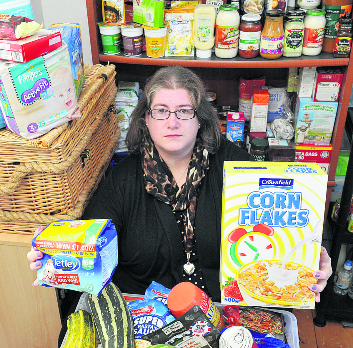 The Oxfordshire West Food Bank is running out of space and needs bigger premises as demand increases. Julie Walker-Lock with some of the food.