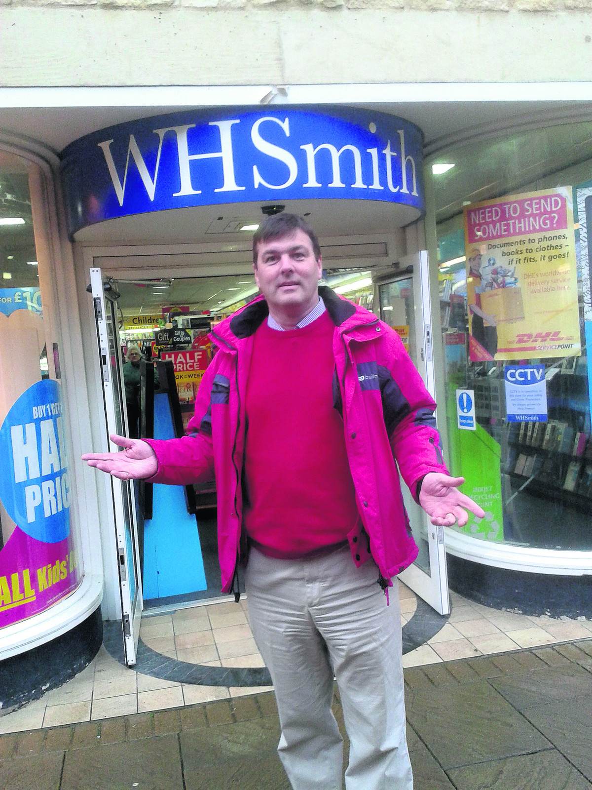 Duncan Enright outside WH Smith in Witney