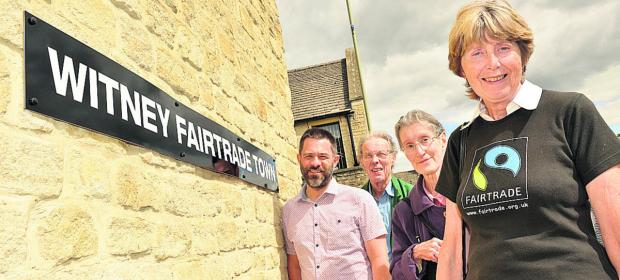 From left, Church minister Jason Boyd with Witney Area Fairtrade Action Group members Don Mason, Mahalla Mason and Wendy Maddison, who are unhappy that they have now had to take down the Fairtrade sign.