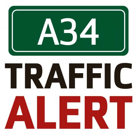One lane of the A34 blocked at the Milton Interchange due to broken down car
