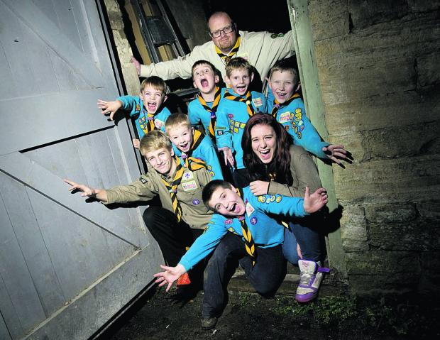 Group Scout leader Andrew Stokes, back, with, middle, from left, Sam Dee, Joseph Brailsford, Adam Barker and Jacob Bonner; front, from left, Riley Stokes, Oli Dee, Freddie Miller and Hazel Bicker
