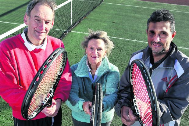 Alan Davidson, Margaret Saxon and Vladimir Chorbadzhiev from Witney Tennis Club on the courts at West Witney. Picture: OX64004 Ric Mellis