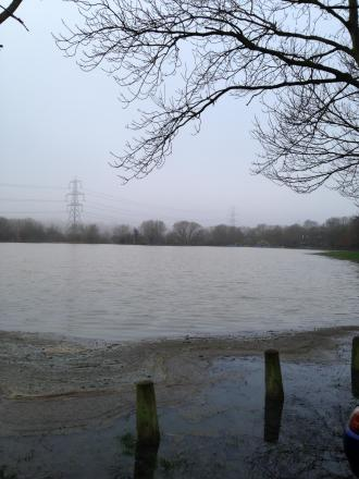 Oatlands Road Recreation Ground is completely flooded today.