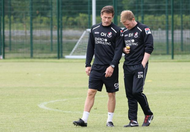 Chris Hargreaves (left) with Bournemouth boss Eddie Howe