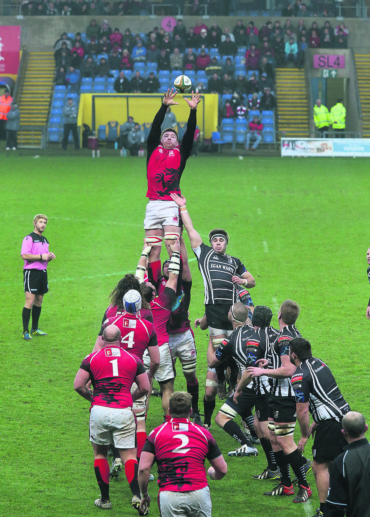 Ollie Stedman, pictured winning a line-out against Pontypridd last weekend, is one of only four London Welsh players to keep their place for today's match against London Scottish