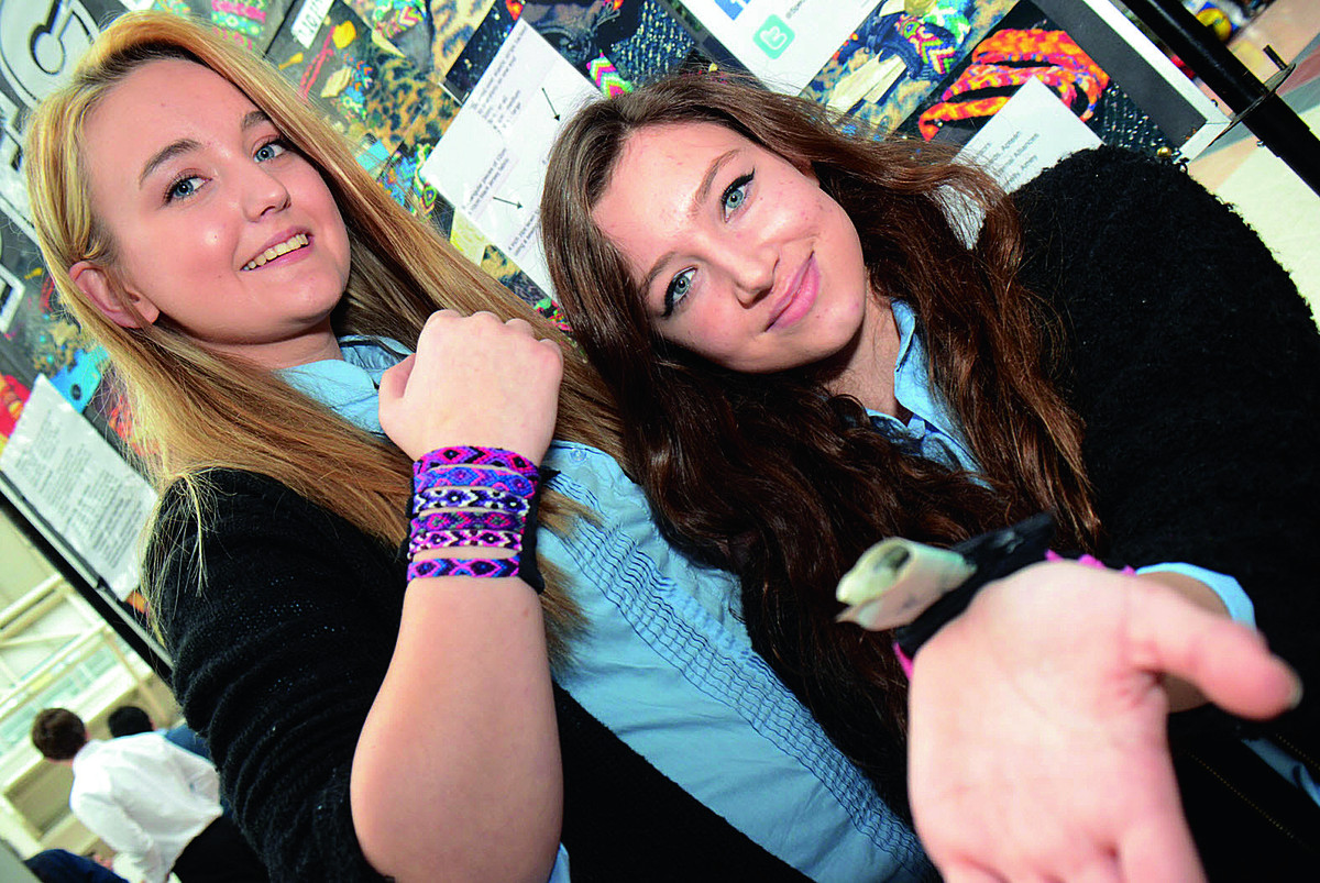 17-year-olds Annabel Record and Amy Buckle from Spectrum of St Helen & St Katherine School in Abingdon were among 21 Young Enterprise teams from Oxfordshire at the launch in Oxford       Picture: OX64878 Marc West