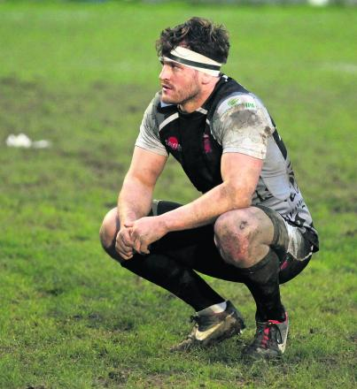 London Welsh back row forward Mike Denbee shows his disappointment after their shock defeat away to Plymouth  Albion.  Picture: Martin John