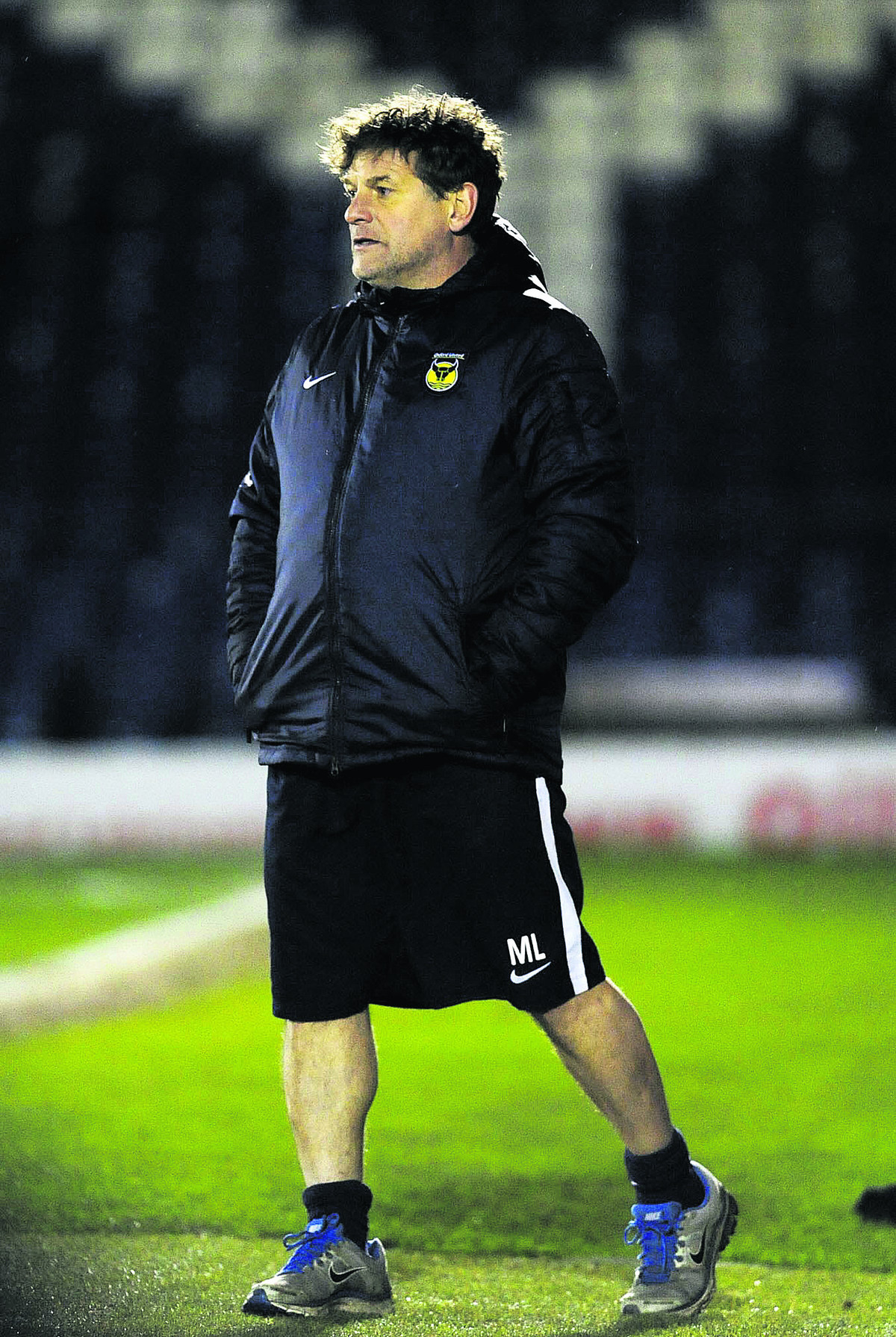 Mickey Lewis looks on at Bury on Tuesday night