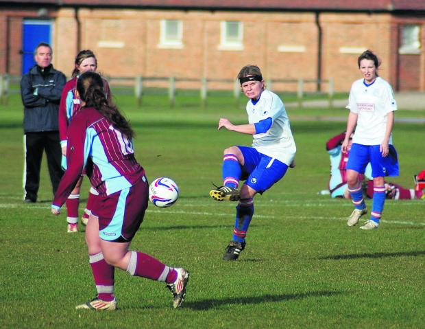 Emma Proctor, who scored the winner for Tower Hill Ladies in their 3-2 triumph at Chesham United Res in the Southern Region Women's League Chairman's Cup clash, takes a pot at goal