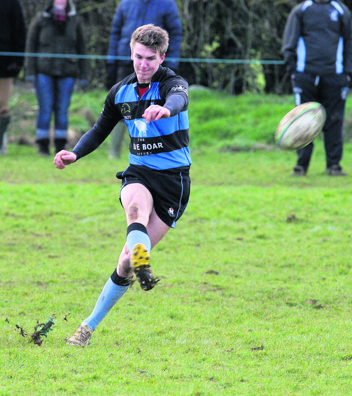 Witney fly half Ted Landray slots over a penalty during their 17-0 home win against Oxfordshire rivals Grove on Saturday