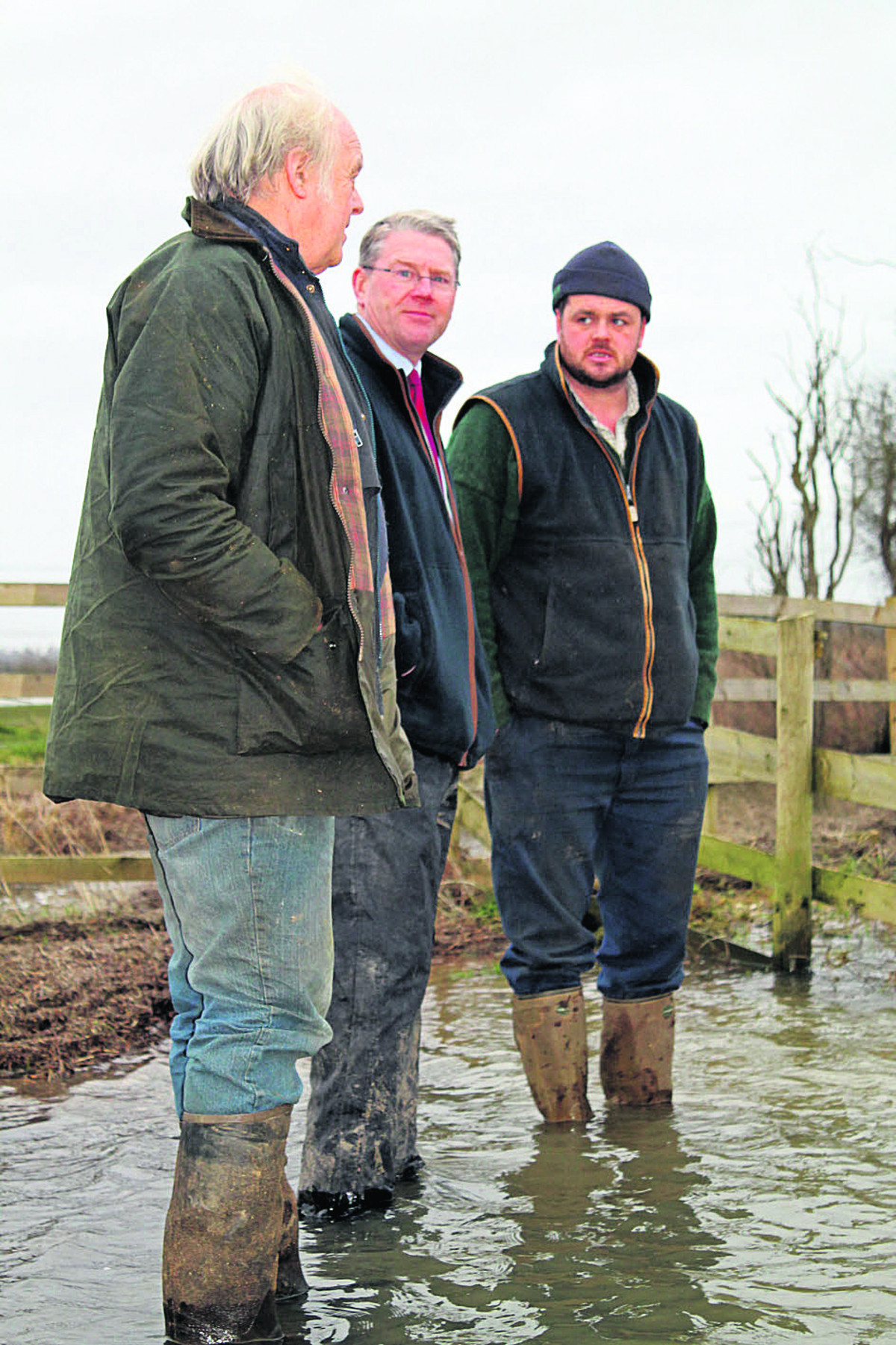 John Hook, NFU president Peter Kendall and Tim Hook at Cote Lodge Farm