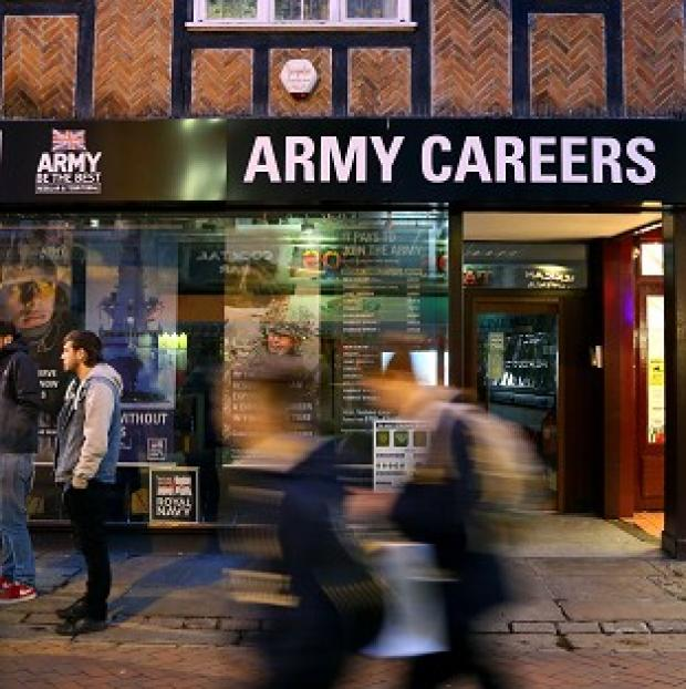 Witney Gazette: The Army Careers office in Canterbury, Kent, one of the armed forces recruitment offices where suspected explosive devices have been found