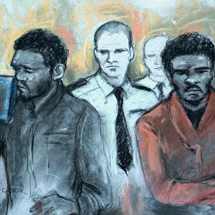 Court artist sketch by Elizabeth Cook of Michael Adebowale and Michael Adebolajo as they were found guilty of the murder of Fusilier Lee Rigby.