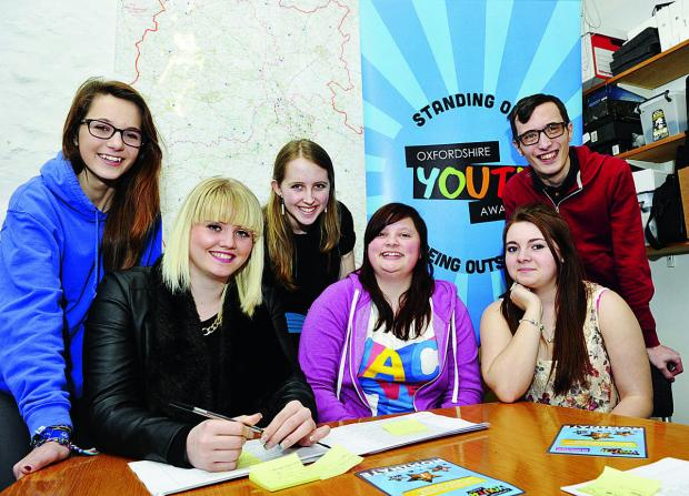 The Oxford Youth Awards panel, from left, Pansy Poolman, 15, Becca Cross, 17, Kirsty Rix, 16, Rachel Munday, 17, Courtney Hughes, 16, and Andrew Baker, 25