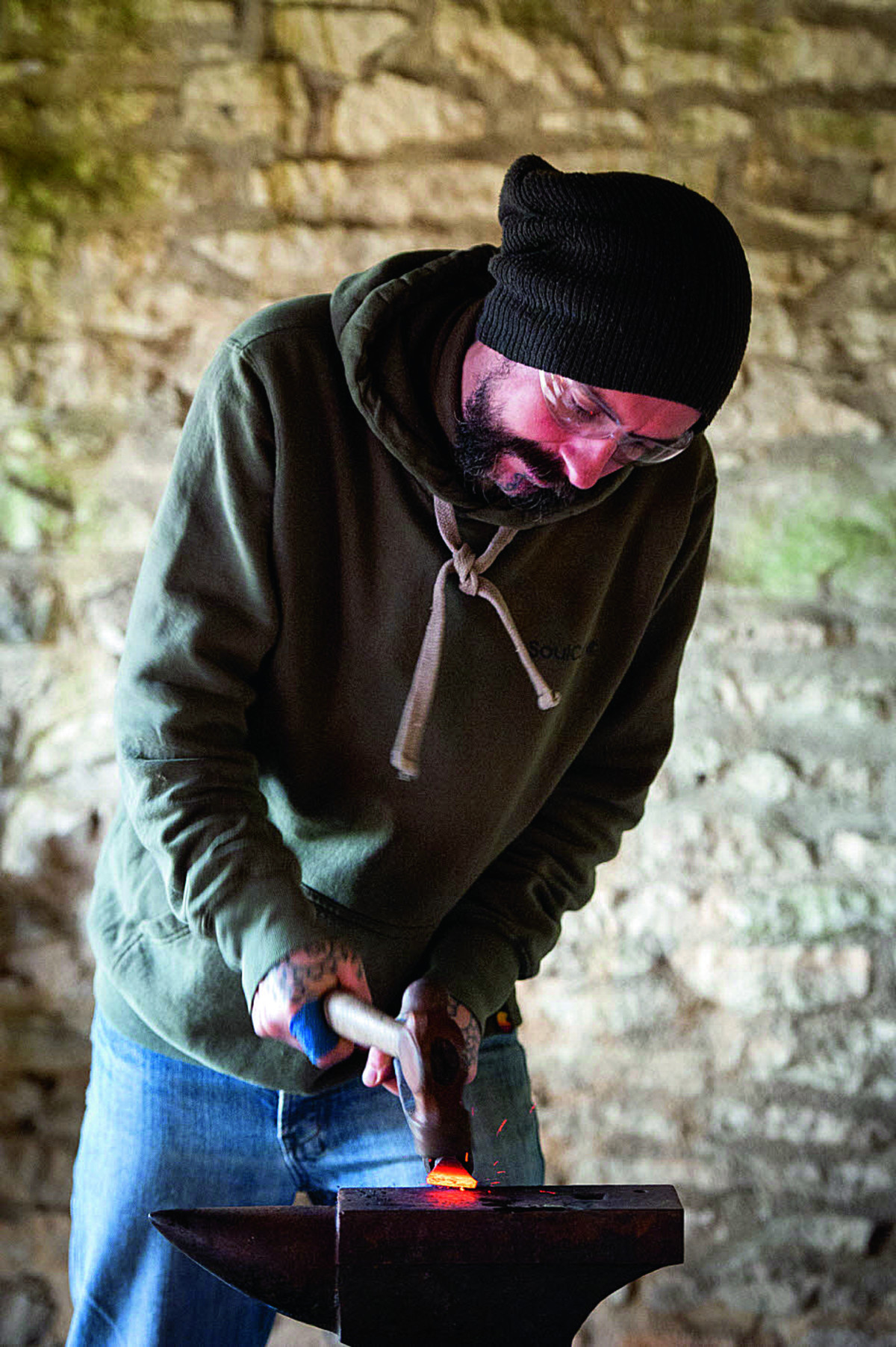 Simon Turk – who runs a forest school for children – participates in Cogges Farm week-long blacksmithing course Picture OX65419: Aimee Kirkham