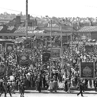 A mass rally of striking miners in Mansfield, Nottinghamshire, in May 1984