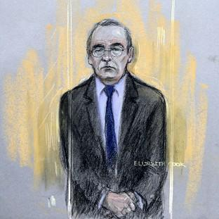 Witney Gazette: Court artist sketch by Elizabeth Cook of Fred Talbot in the dock at Manchester Magistrates' Court.