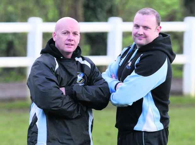 Witney Gazette: Witney head coach Pete Wilson (left) and assistant Ritchie Craig