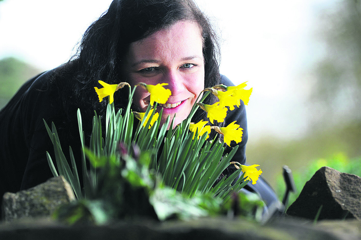 Trainee botanic horticulturist Ness Newman with daffodils at Oxford's Botanic Garden. Picture: OX65699 Jon Lewis