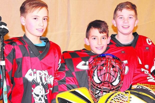 Chippy Trixters Skater Hockey Club (from left) Jake Williams, Brett Massey and Devon Shadbolt, who have been selected for Great Britain