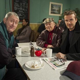 David Beckham joins Sir David Jason and Nicholas Lyndhurst as a guest in a special Only Fools And Horses sketch for Sport Relief