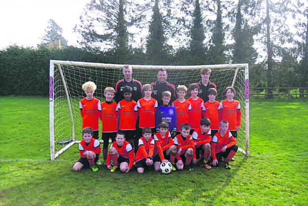 Bampton Town Under 10s. Back row (from left): Wayne Carter, Pete Illingworth (manager), Matt Pilkington. Middle: Regan Pritchard, Michael Hoffler, Tahir Alam, Alex Tyrell, Jamie Hammond, Joe Warwick, Henry Deegan, Alex Jones, Lucas Goodgame. Fr