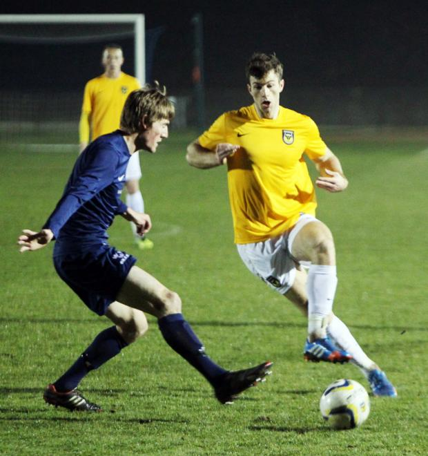 Witney Gazette: Jon Meades in action on his comeback for Oxford United's development squad tonight