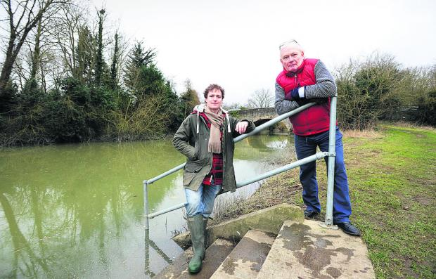 Henry Reily-Collins, left, from Culham, and James Walton, from Sutton Courtenay, hope a hydro-electricity plant could be built between the two villages