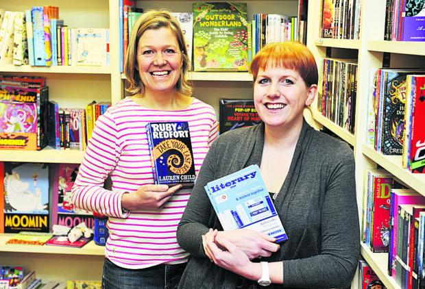 Children's programme co-ordinator Caroline Watson, left, and Clare Mackintosh at Jaffe & Neal books in Chipping Norton