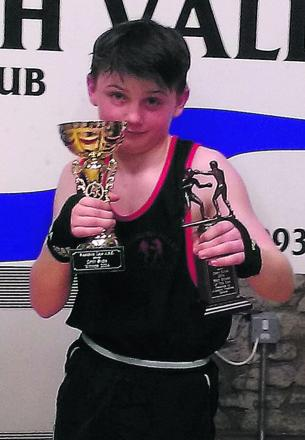 Witney's Jimmy Doran takes on Michael Dunn (West Ham) in the England Schoolboy Boxing Championship in London on Sunday