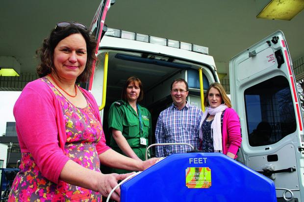 From left: Dr Charlotte Bennett, neonatal consultant at the John Radcliffe Hospital, St John Ambulance neonatal transport driver Adele Hambidge, and  James and Claire Down, parents of two boys who were born premature and died