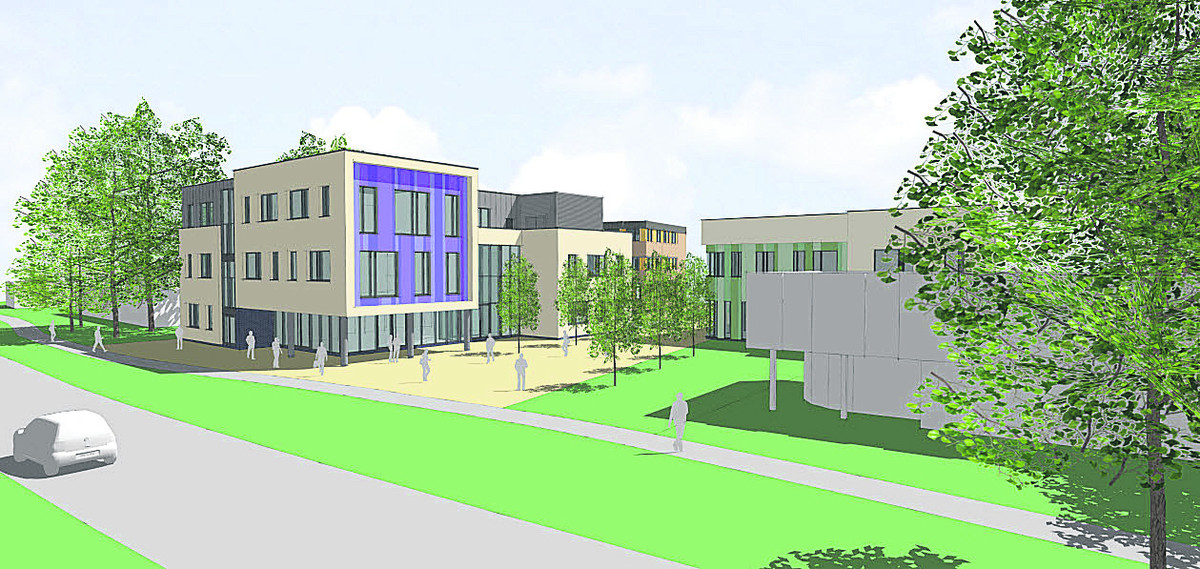 An artist's impression of the new college building in Welch Way, Witney