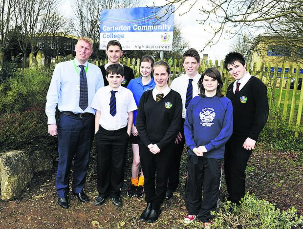 Witney Gazette: Acting headteacher Iain Bilton, with pupils, back, from left, Calum Longman, Rosie Herridge, James Clark, Ben Rolands; front, Braiden Davies, Amy Thomson and Susan Oliver